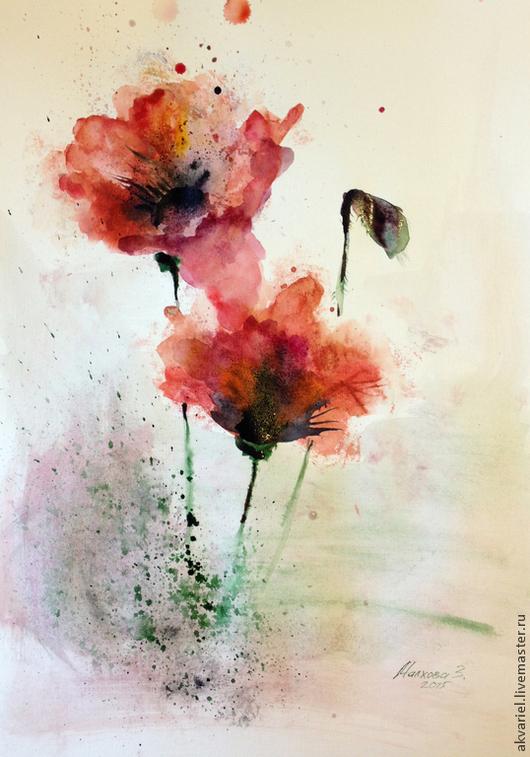 Картины цветов ручной работы. Ярмарка Мастеров - ручная работа. Купить Маки. Handmade. Ярко-красный, акварель, подарок, весна