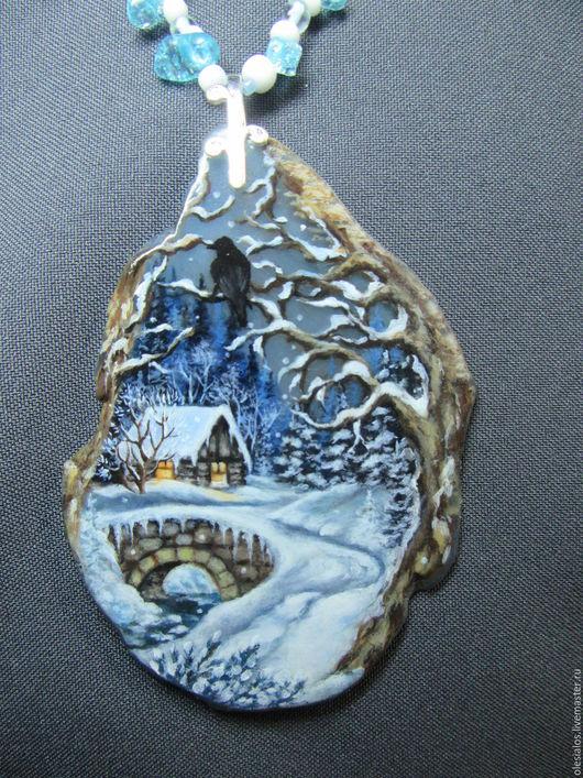 """Кулоны, подвески ручной работы. Ярмарка Мастеров - ручная работа. Купить """"Зимняя сказка"""". Handmade. Голубой, многослойная живопись"""