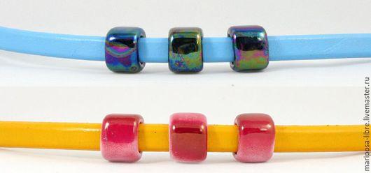 Для украшений ручной работы. Ярмарка Мастеров - ручная работа. Купить Бусины 10х7 керамические (15мм), вишневая и черная (перелив). Handmade.