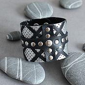 Украшения handmade. Livemaster - original item Cuff bracelet: Black checkered leather bracelet. Handmade.
