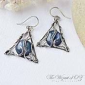 Украшения handmade. Livemaster - original item Silver earrings with kyanite deathly Hallows. Handmade.