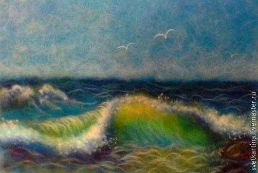 """Пейзаж ручной работы. Ярмарка Мастеров - ручная работа. Купить Картина шерстью """"Море"""". Handmade. Синий, картина в подарок"""