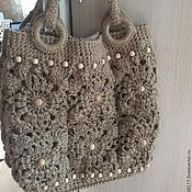 Classic Bag handmade. Livemaster - original item Jute bag, knitted motifs. Handmade.