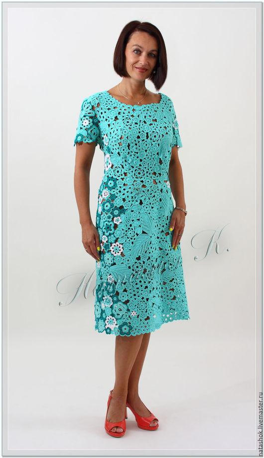 Платья ручной работы. Ярмарка Мастеров - ручная работа. Купить платье Лазуревый цвет. Handmade. Бирюзовый, Платье нарядное