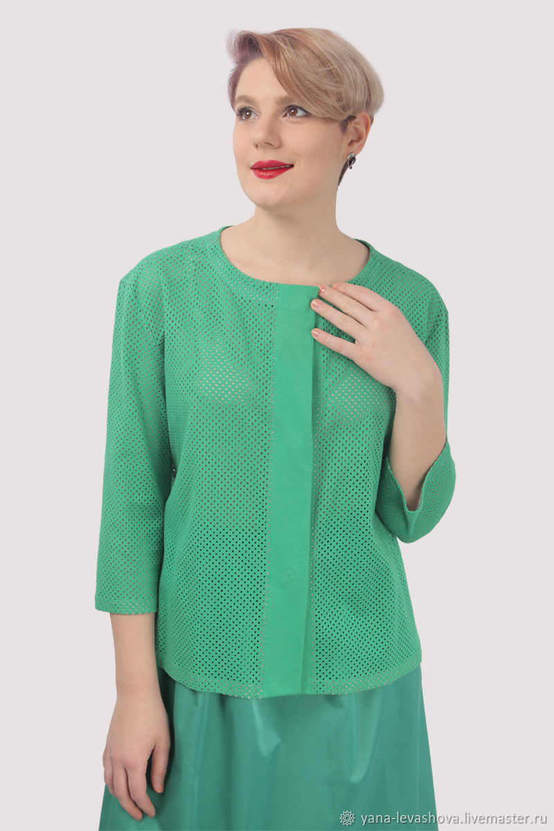 Summer jacket made of cotton perforated green, Jackets, Moscow,  Фото №1