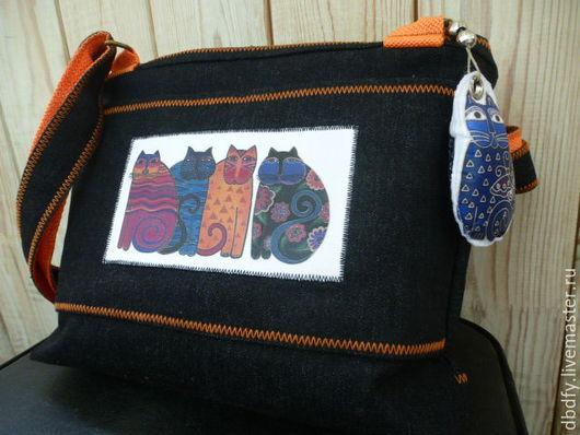 Женские сумки ручной работы. Ярмарка Мастеров - ручная работа. Купить Сумка Pussycat / джинс кошки купить подарок сумку. Handmade.