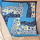 Декоративная наволочка на подушку Голубая поляна из хлопка в стиле лоскутного шитья ручная работа Елена МагазинЧик Пупенчик-Чик-Чик Ярмарка Мастеров