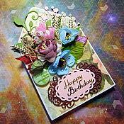"""Открытки ручной работы. Ярмарка Мастеров - ручная работа Открытка-конверт """"С днем рождения"""". Handmade."""