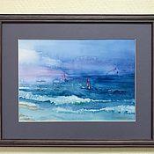 """Картины и панно ручной работы. Ярмарка Мастеров - ручная работа Акварель море парусники  """"La mar"""" в раме. Handmade."""