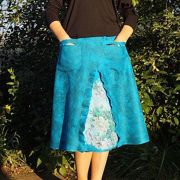 Одежда ручной работы. Ярмарка Мастеров - ручная работа Юбка валяная на шелке. Handmade.