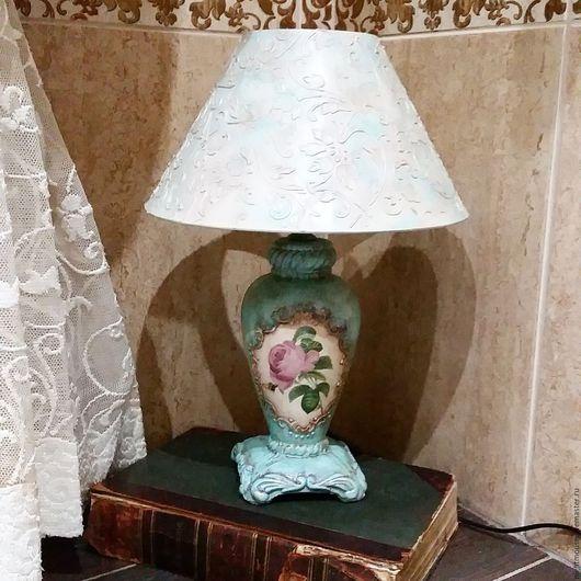 """Освещение ручной работы. Ярмарка Мастеров - ручная работа. Купить Лампа настольная """"Чайная роза"""". Handmade. Бирюзовый, подарок"""