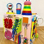 Бизиборды ручной работы. Ярмарка Мастеров - ручная работа Бизиборд куб для девочки от 8 месяцев.. Handmade.