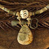 """Колье ручной работы. Ярмарка Мастеров - ручная работа Колье """"Ключ от тайны-1"""" (яшма, керамика, винтаж, этно). Handmade."""