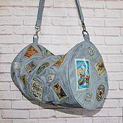 Дорожная сумка из эко-замши с винтажными принтами