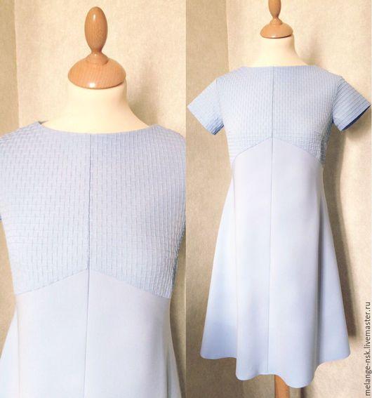 Платья ручной работы. Ярмарка Мастеров - ручная работа. Купить Платье-трапеция голубое. Handmade. Голубой, стильное платье