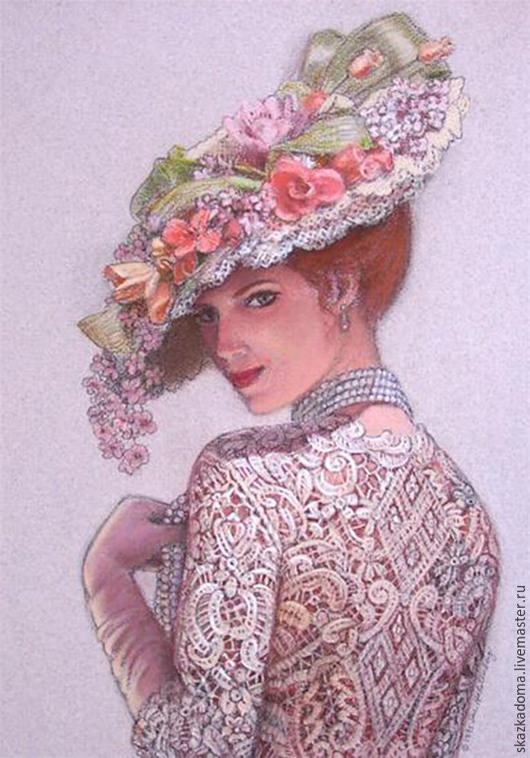 """Вышивка ручной работы. Ярмарка Мастеров - ручная работа. Купить Набор для вышивки лентами  по принту  """"Дама в шляпке"""", Л-1. Handmade."""