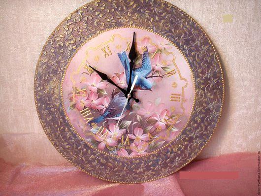 """Часы для дома ручной работы. Ярмарка Мастеров - ручная работа. Купить Часы """" Весна"""". Handmade. Голубой, подарок девушке"""