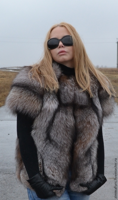 Vest with sleeves from fur of the black Fox (Color crystal), Vests, Omsk,  Фото №1