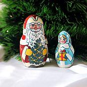 Русский стиль handmade. Livemaster - original item Matryoshka 2 places Santa Claus and Snow Maiden tree painting height 7 cm. Handmade.