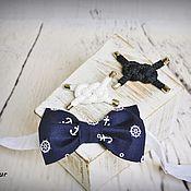 """Аксессуары ручной работы. Ярмарка Мастеров - ручная работа бабочка """"Капитанская""""  с брошкой-бутоньеркой. Handmade."""