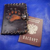 Канцелярские товары handmade. Livemaster - original item Leather passport cover with magnetic closure embossed with Bearish paw. Handmade.