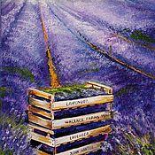 Картины и панно ручной работы. Ярмарка Мастеров - ручная работа Картина маслом  Сбор лаванды. Handmade.