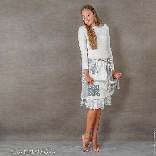 Юбки ручной работы. Ярмарка Мастеров - ручная работа. Купить Валяная юбка Шале. Handmade. Серый, нунофелтинг, eco-style