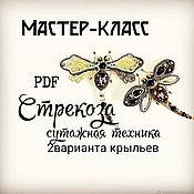 Материалы для творчества handmade. Livemaster - original item Master class Sutazhnaya technique brooch Dragonfly 2 versions of wings.. Handmade.
