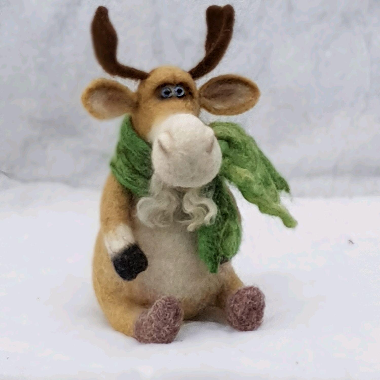 Игрушка новогодняя Лось из шерсти (рождественский олень), Войлочная игрушка, Москва,  Фото №1