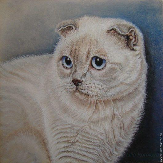 Животные ручной работы. Ярмарка Мастеров - ручная работа. Купить Кошка. Handmade. Бежевый, кот, пастель, голубые глаза, синий