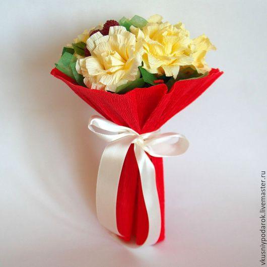"""Персональные подарки ручной работы. Ярмарка Мастеров - ручная работа. Купить Конфетный букет из роз - """"Лимон и малинка"""". Подарок учителю. Handmade."""