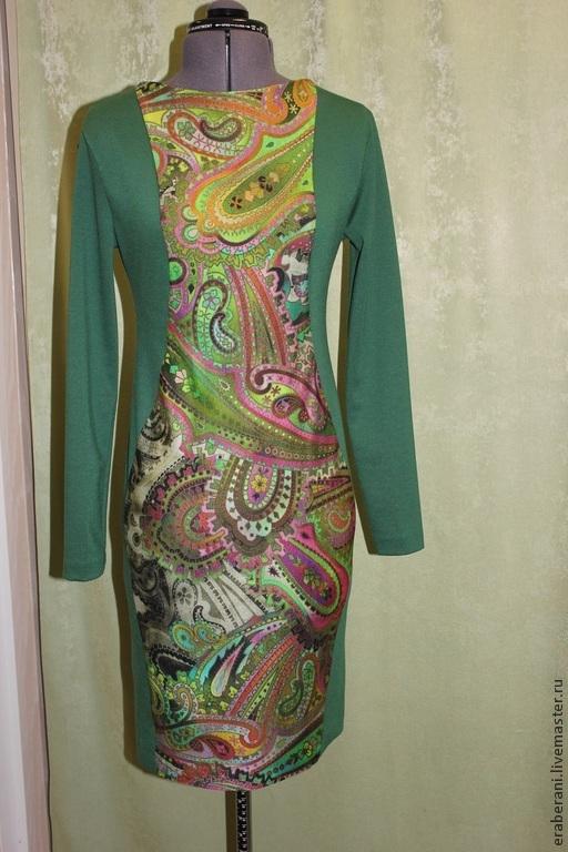 Платья ручной работы. Ярмарка Мастеров - ручная работа. Купить Платье из трикотажа с фигурными рельефами 2. Handmade. Разноцветный