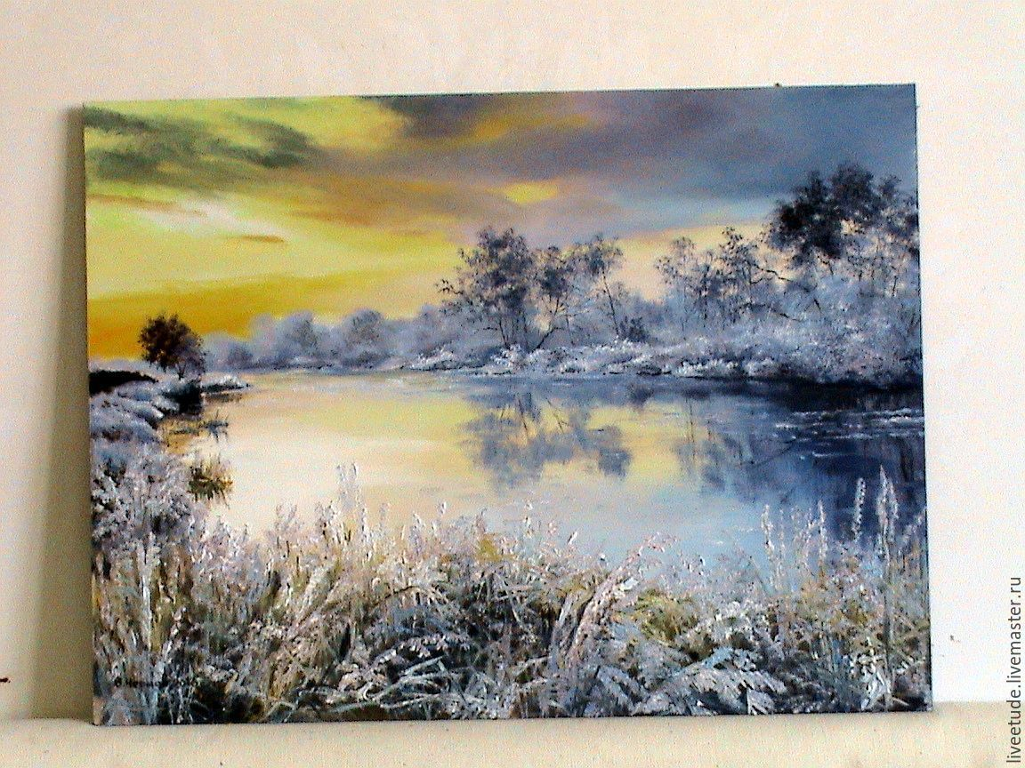 Oil Painting Peisaj Winter Lake Shop Online On