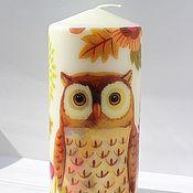 Candles handmade. Livemaster - original item For lovers of owls Candles decoupage Savonia. Handmade.
