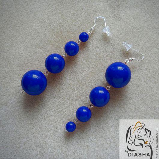 Серьги ручной работы. Ярмарка Мастеров - ручная работа. Купить ХИТ Серьги синие длинные круглые бусины электрик electric blue. Handmade.