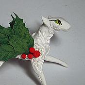 """Подарки к праздникам ручной работы. Ярмарка Мастеров - ручная работа статуэтка  """"Дух рождества"""" фигурка  кошка  игрушка на елку. Handmade."""