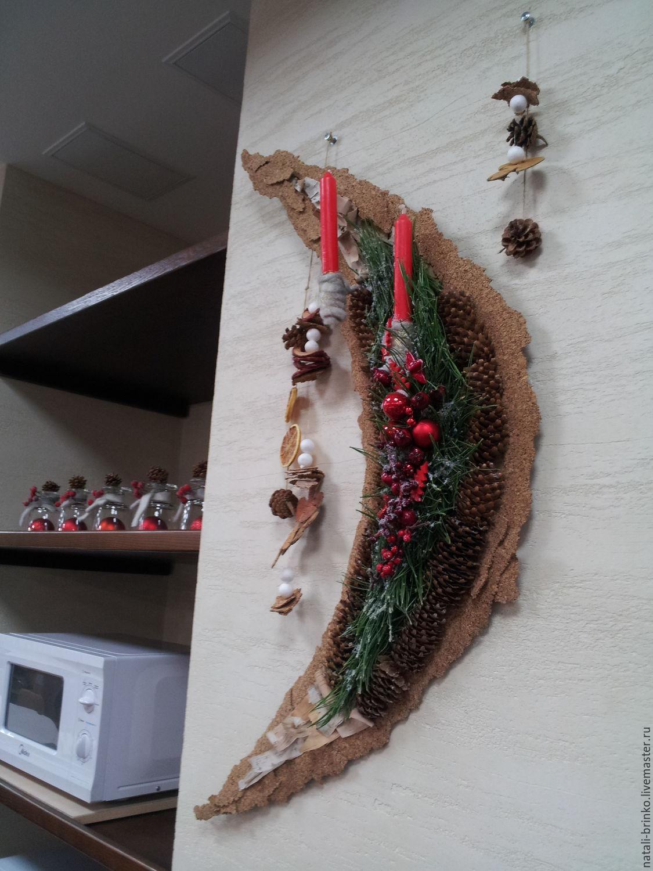 Дизайн интерьеров ручной работы. Ярмарка Мастеров - ручная работа. Купить Интерьерное флористическое оформление  новогодние подсвечники. Handmade. Свечи