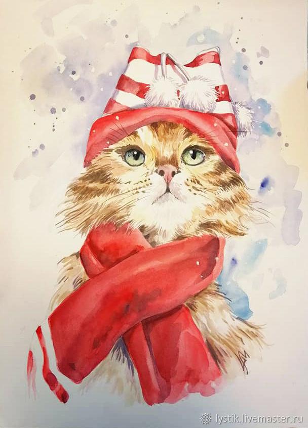Рисунок акварелью Зимний кот, Картины, Москва,  Фото №1