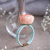 Браслет для невесты из цветов ручной работы. Голубой браслет с розой