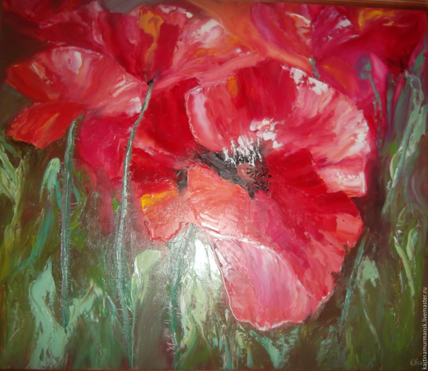 Oil painting flowers 50/60 'Poppies as a gift', Pictures, Murmansk,  Фото №1