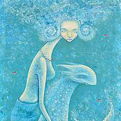 Картины и панно ручной работы. Ярмарка Мастеров - ручная работа Три красные рыбки. Картина фэнтези. Холст. Акрил.. Handmade.