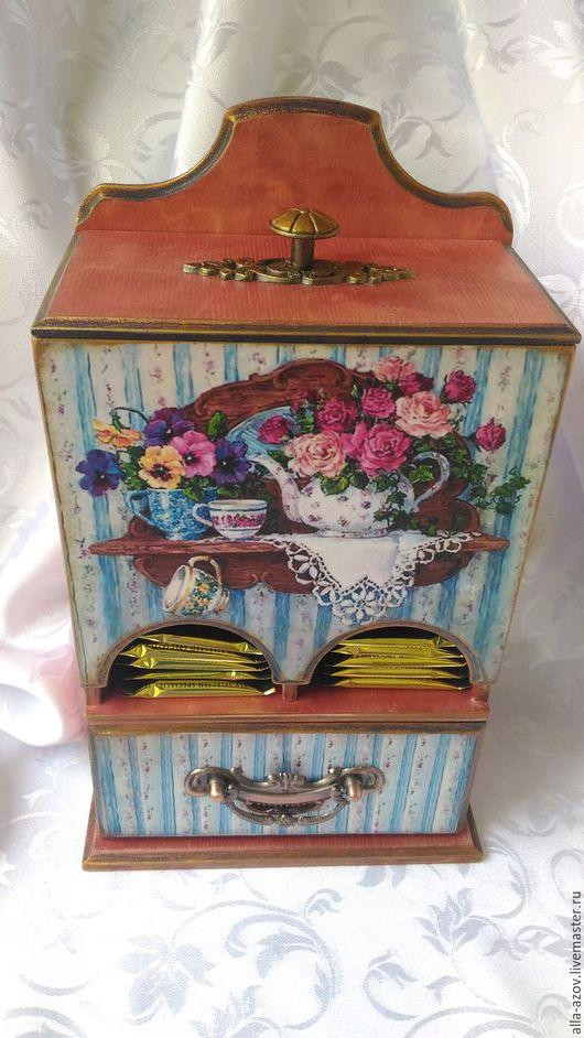 """Кухня ручной работы. Ярмарка Мастеров - ручная работа. Купить Чайный буфет """"Цветочный аромат"""". Handmade. Голубой, украшение для интерьера"""