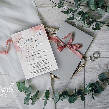"""Свадебный салон ручной работы. Ярмарка Мастеров - ручная работа Приглашение """"Акварель"""" в розовом. Handmade."""