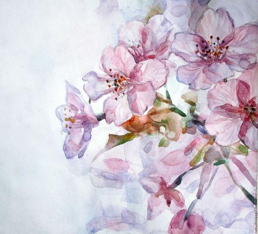 Картины цветов ручной работы. Ярмарка Мастеров - ручная работа. Купить розовые лепестки. Handmade. Бледно-розовый, яблоня в цвету