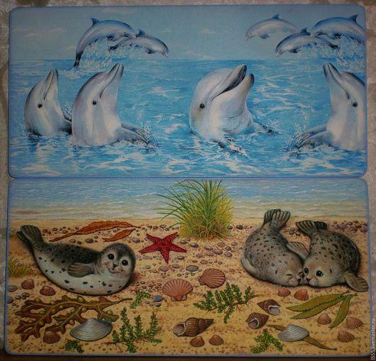 """Кухня ручной работы. Ярмарка Мастеров - ручная работа. Купить """"Дельфины и тюлени"""" Разделочная доска панно. Handmade. Комбинированный, панно"""