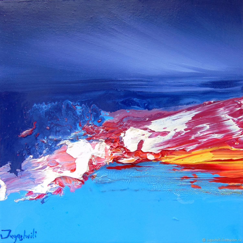 Пейзаж ручной работы. Ярмарка Мастеров - ручная работа. Купить HL 4 (HL 4)30х30см. Handmade. Красный, синий