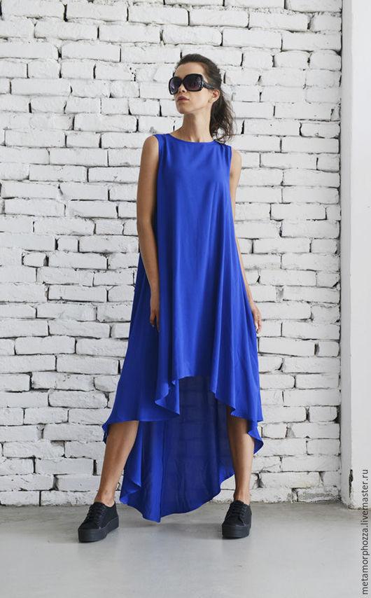 Платья ручной работы. Ярмарка Мастеров - ручная работа. Купить Синее длинное платье, асимметричное платье. Handmade. Платье