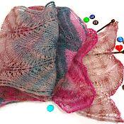 handmade. Livemaster - original item Knitted light openwork scarf made of mohair. Handmade.