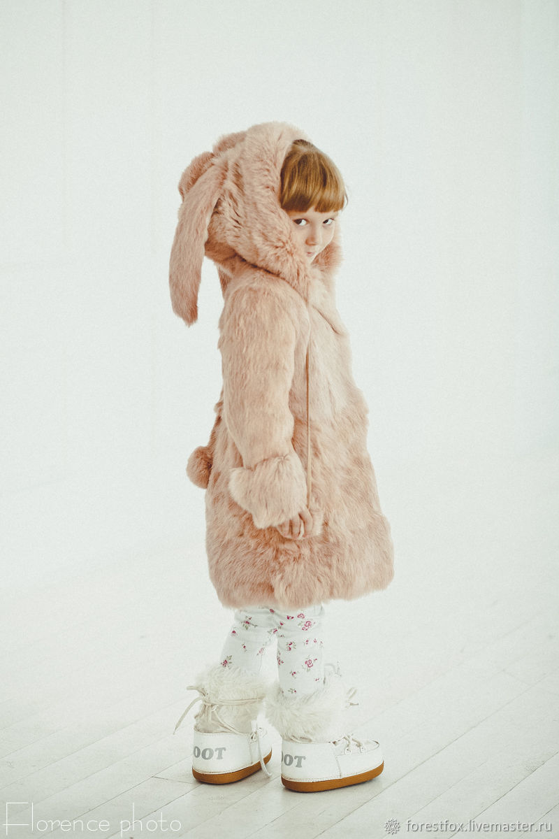 Rabbit fur kids coat with ears in pink, Childrens outerwears, Moscow,  Фото №1