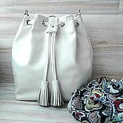 Кожаная сумка на плечо. Белая кожаная сумка торба.Белый,молочный цвет